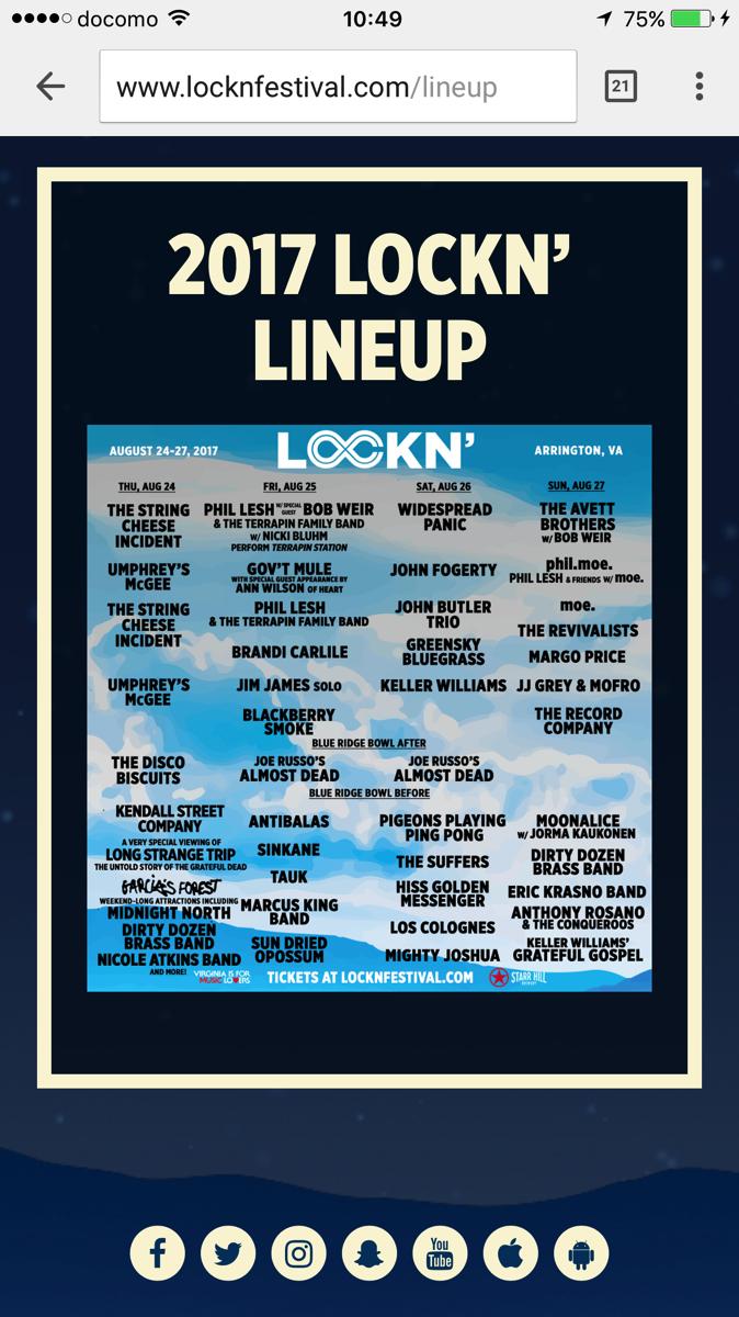 2017 LOCKN LINEUP